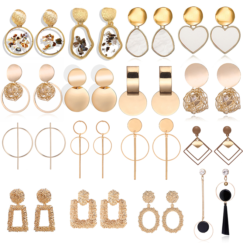 Fashion Drop Earrings For Women 2019 Statement Geometric Metal Female Dangle Earrings Trendy Jewelry Female Wedding  Accessories