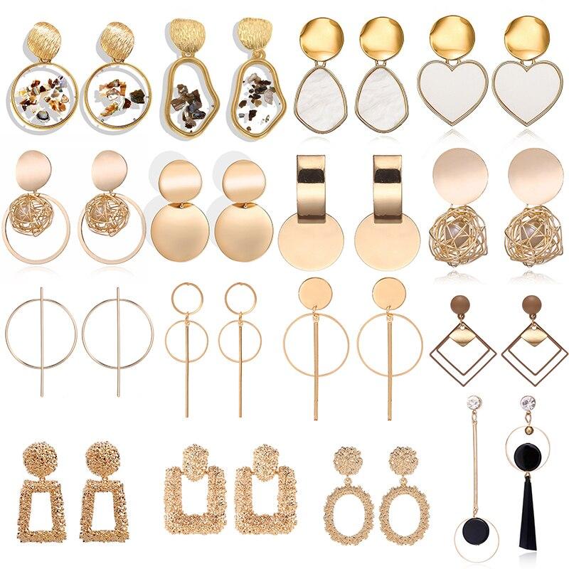 Fashion Drop Earrings For Women 2019 Statement Geometric Metal Female Dangle Earrings Trendy Jewelry Female Wedding  Accessories