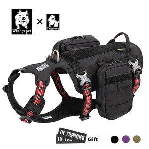 Truelove mochila militar para cães, coleira peitoral para cães, mochila impermeável, transportadora para viagens ao ar livre