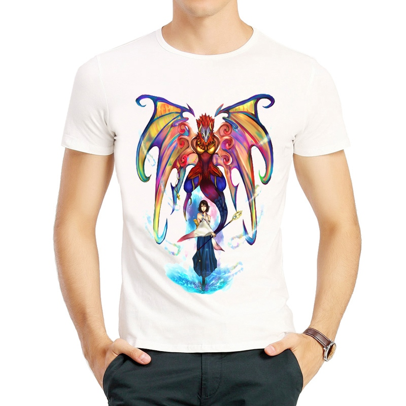 Final Fantasy X T Shirt White Color Mens Short Sleeve Final Fantasy 10 Logo T-Shirts Tops Tees Tshirt Game FF Yuna T-shirt