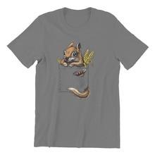 Cute Squirrel Playing Climbing in Pocket T-Shirt Chipmunk Vintage Men Gift...
