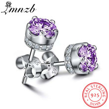 Lmnzb Fashion 925 Sterling Silver Zirconia CZ Anting-Anting Perhiasan Klasik Double Stud Anting-Anting untuk Wanita LE228(China)