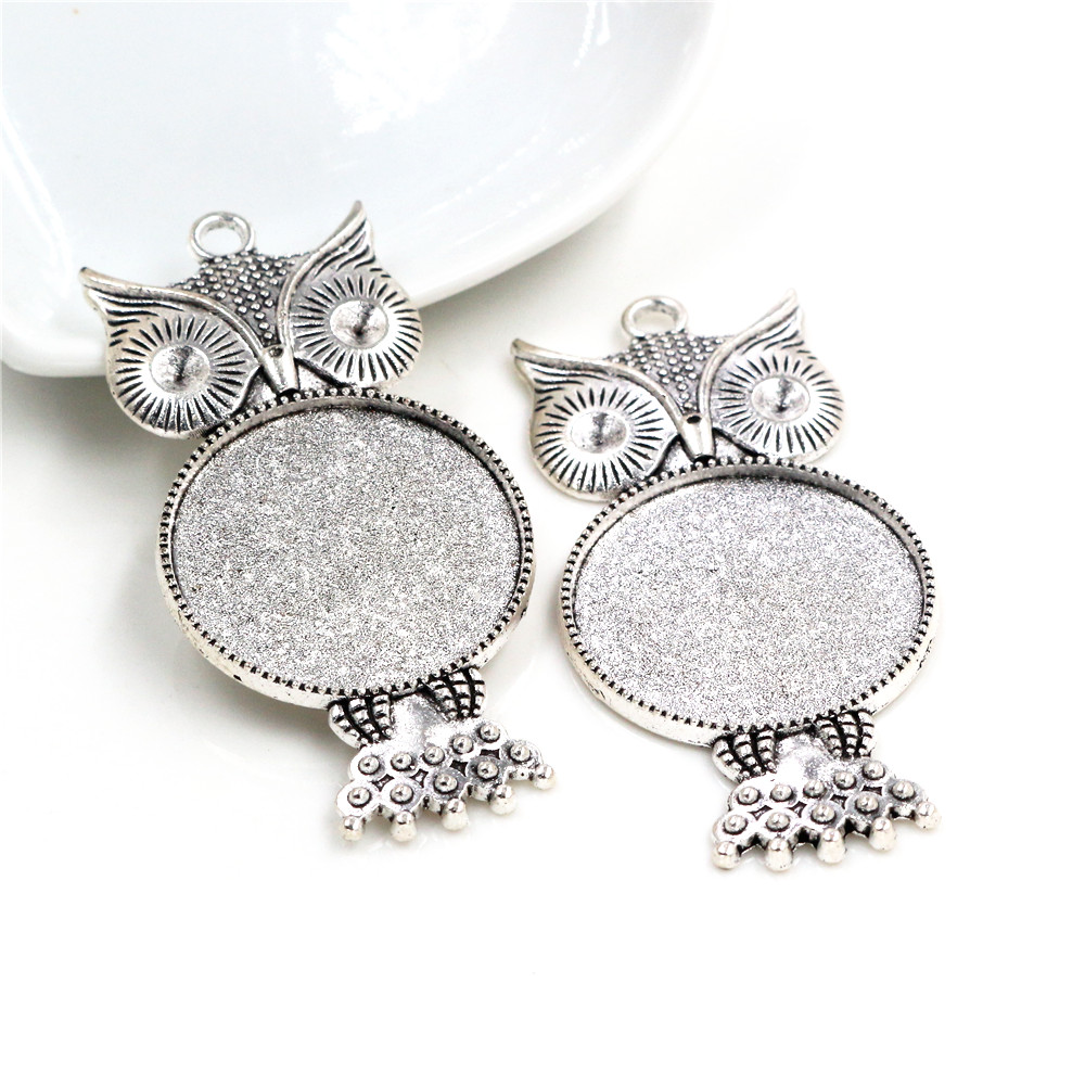New Fashion 3pcs 25mm Inner Size Antique Silver Owl Style Cabochon Base Setting Charms Pendant (A6-20)