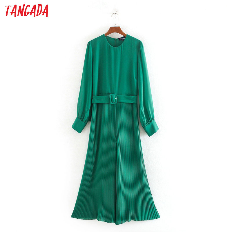 Tangada Women Pleated Green Long Jumpsuit With Belt Long Sleeve O Neck Back Zipper Female Elegant Work Lady Jumpsuit CE109