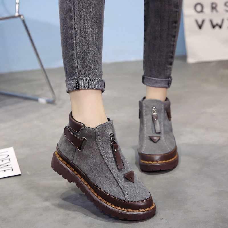 Người Phụ Nữ Giày Trắng Mắt Cá Chân Giày Nhung Ấm Nền Tảng Nữ Vintage Giày Đế ĐộN Genunie Nữ Da Ủng 698