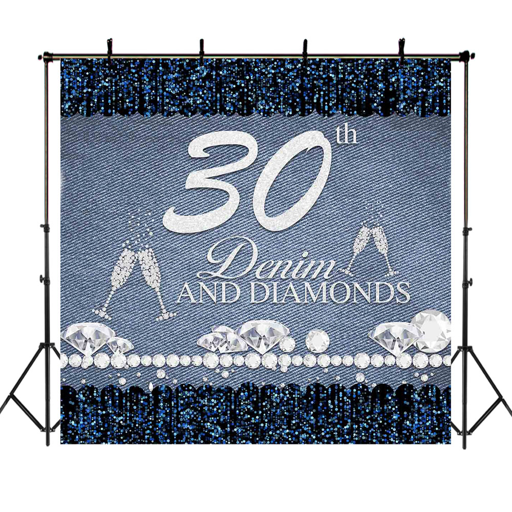 Happy 30th 40th 50th <font><b>60th</b></font> <font><b>Birthday</b></font> <font><b>Backdrop</b></font> Denim Diamond Photography Background Goblet Lady Party Decoration Photo <font><b>Backdrops</b></font> image