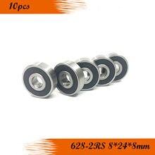 10PCS 628RS Rolamento ABEC-3 8*24*8mm 628-2RS Selado Rolamentos de Esferas Em Miniatura 628 2RS