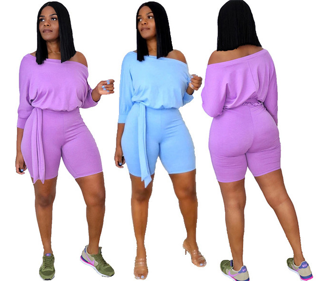 2020 Summer Women Playsuit Jumpsuit Solid-Color Sexy Lace Up Tie Short Pants European and American Rompers Bodysuit 1