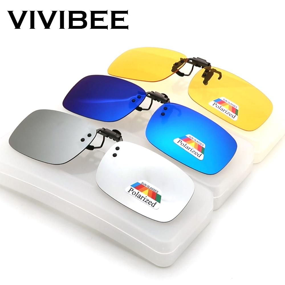 VIVIBEE Mirror Flip Up Clip On Sunglasses Men Polarized Lens Metal Clips Night Vision Safe Driving UV400 Glasses For Women