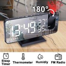 Cyfrowy budzik LED zegar elektroniczny stół do komputera zegary USB Wake Up FM Radio czas projektor dwie funkcja drzemki alarmu
