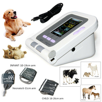 08A VET Veterinary Blood Pressure Monitor Animal Electronic Sphygmomanomete Heart Rate Pulse Meter Neonate+Child+Infant Cuffs
