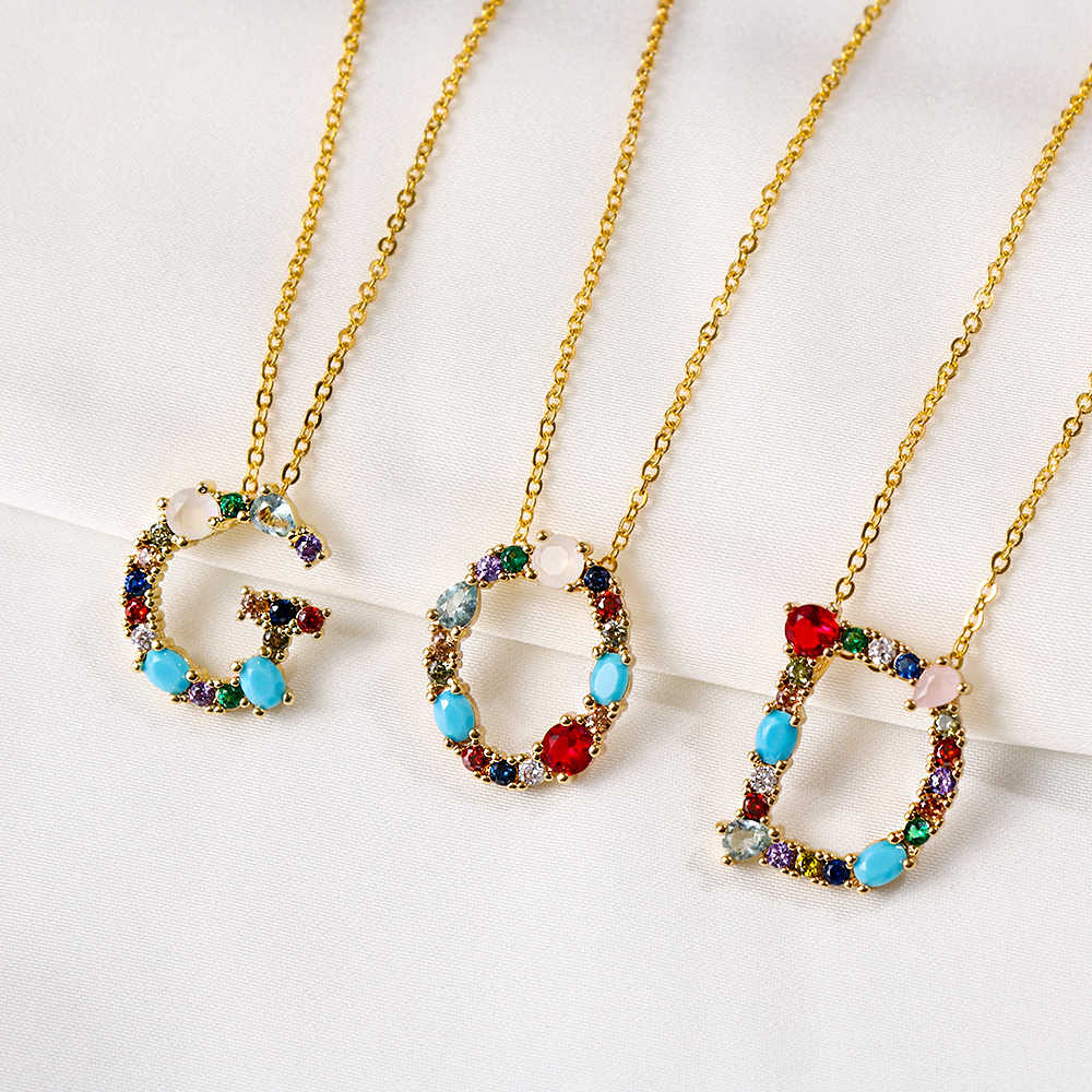2019 Gold Color Initial Multicolor CZ Necklace Personalized Letter Necklace Name Jewelry For Women Accessories Girlfriend Gift