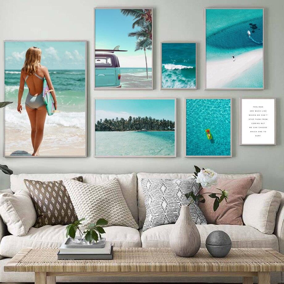 Морской пейзаж морская вода постеры пляжная настенная живопись