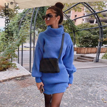 Cryptographic Solid Turtleneck Knitted Sweater Dress for Women Autumn Winter Warm Sweaters Lantern Sleeve Knitwear Dresses Loose autumn winter turtleneck knitted warm sweaters women new lantern sleeve side slit jumper pullover solid casual loose sweater top