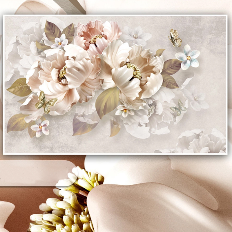 Custom Any Size Mural Wallpaper Modern Pastoral Pink Flowers Hand Painted Photo Wall Paper Living Room Wedding House Papel Tapiz