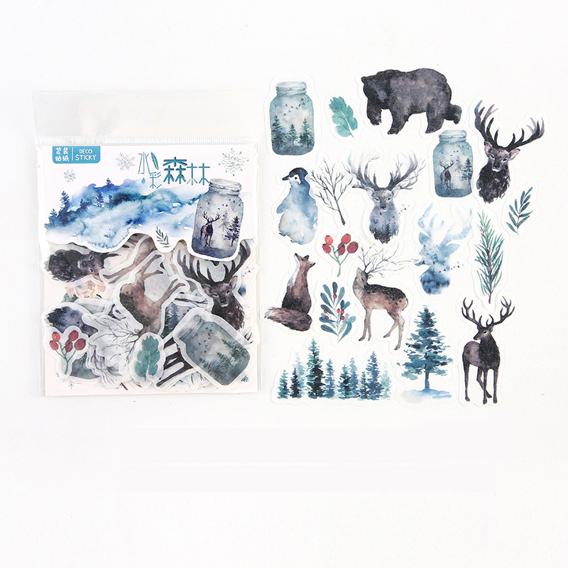 40 pcs /Bag Watercolored Forest Diary Decorative Stickers Album Hand Account Notebook Decor