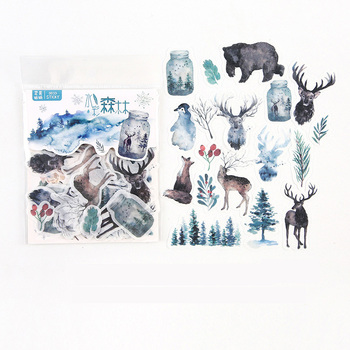 40 pcs /Bag Watercolored Forest Diary Decorative Stickers Album Hand Account Notebook Decor - discount item  18% OFF Stationery Sticker