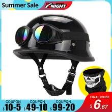 Motorcycle Helmet German Leather  Vintage Casco Moto Motorcycle Open Face Retro Half Helmet Chopper Biker Pilot DOT Size S XXL
