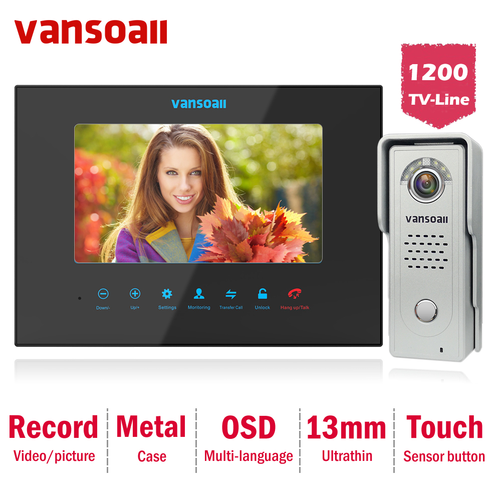 Vansoall Video Door Phone Intercom System Metal Doorbell 1200TVL Camera Kit,Support Memory Card For Record Multi-language OSD