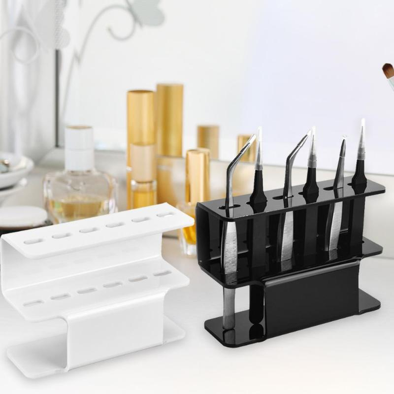 6 Holes Eyelash Tweezers Storage Rack Eyelash Lash Extension Tools Organizer Holder Stand Nail Tattoo Beauty Tools Shelf-in Eyebrow Tweezers from Beauty & Health