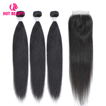Hot Beauty Hair Peruvian Straight Human Bundles With Lace Closure Three /Middle/Free Part Pre Plucked Remy Extension