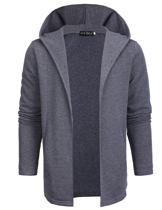 2018 Spring Men Fashion Korean-style Mid-length Solid Color Hoodie Youth Slim Fit Cardigan Coat Fold-down Collar Hooded