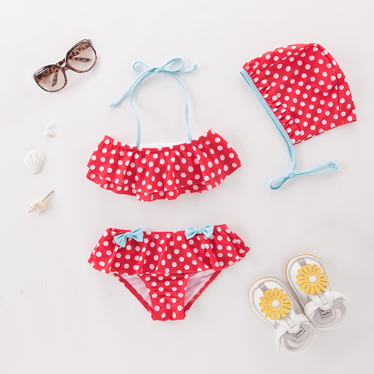 Short In Size Processing Girls' Two-piece Swimsuit Red Dots Bow With Hat-KID'S Swimwear Hot Springs Clothing