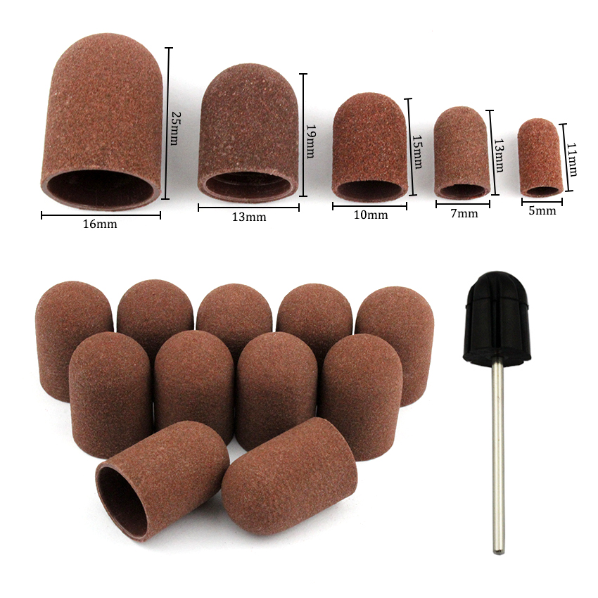 50Pcs/Set 180# Grit Nail Sanding Caps Rubber Grip Pedicure Polishing Sand Block Electric Drill Accessories Bit Manicure Tools