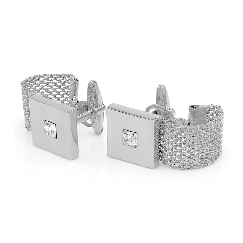 Kemstone Luxury Gold Color Chain Cufflinks With Crystal Men's Cuff - Fashion Jewelry - Photo 4