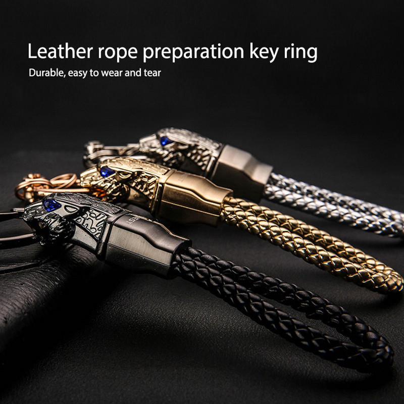 Car Logo Woven Rope Alloy Key Chain Black Cowhide Style Gift Aecoration Accessories Fit for Maserati