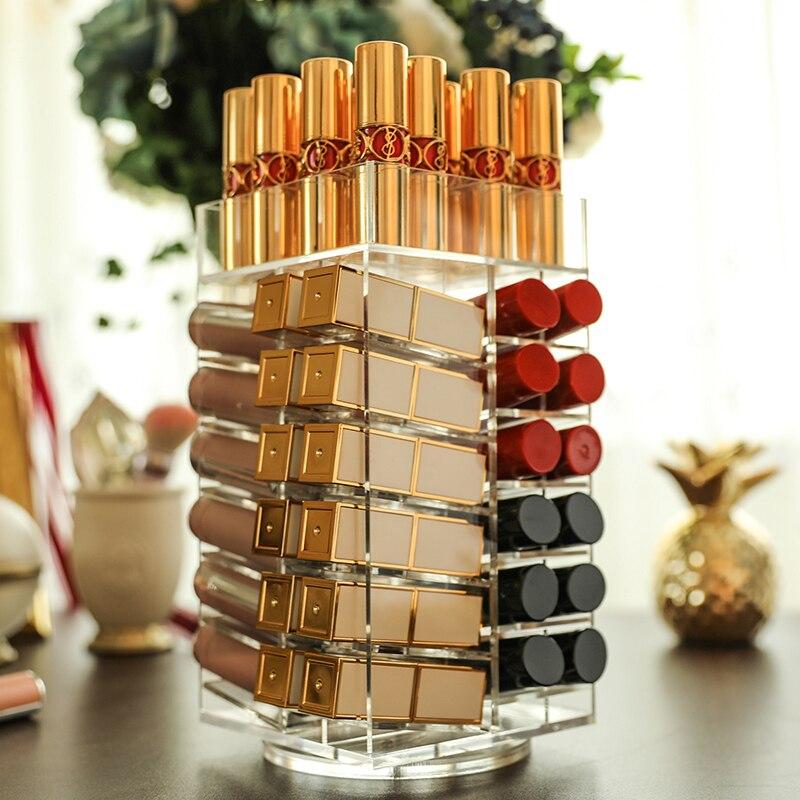64 Lattices Acrylic Lipstick Organizer 360 Degree Rotated Rack Lipstick Tower Makeup Storage Organizer Nail Polish Holder