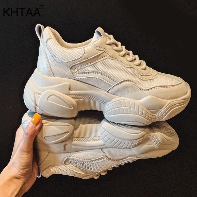 KHTAA 2019 New Women Lace Up Sneakers Casual Vulcanized  Fashion Platform Mesh Breathable PU Platform Walking White Shoes Hot