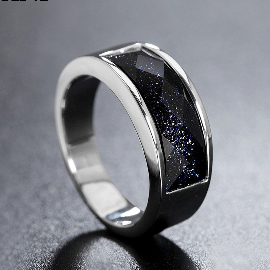 Gold &Silver color black agate gemstone rings for men women onyx stone fashion anillos solid titanium cool jewelry gift size7-11