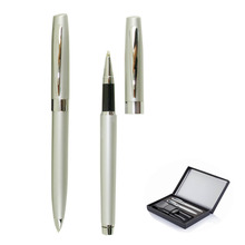 Free shipping Hot sale Metal Ball Pen and Roller pen Set with PU leather pouch gift box packing