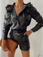 Frauen Stilvolle Herbst Leder Bluse Revers Langarm Tasten Schwarz Rüsche Shirt Damen Mode Lässig Wilde Top Büro Tragen