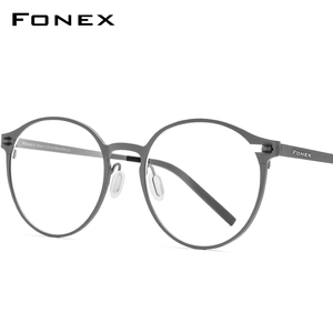 FONEX Pure Titanium Eyeglasses Frame Women Retro Round Prescription Glasses 2020 New Men Optical Screwless Eyewear 8530