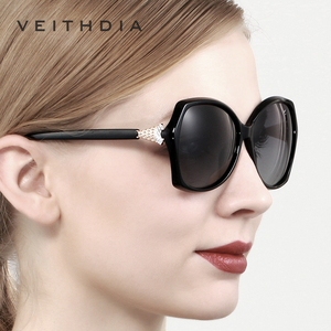 Image 5 - VEITHDIA רטרו נשים משקפיים שמש מקוטב יוקרה קריסטל גבירותיי מותג מעצב משקפי שמש Eyewear לנשים נשי V3027