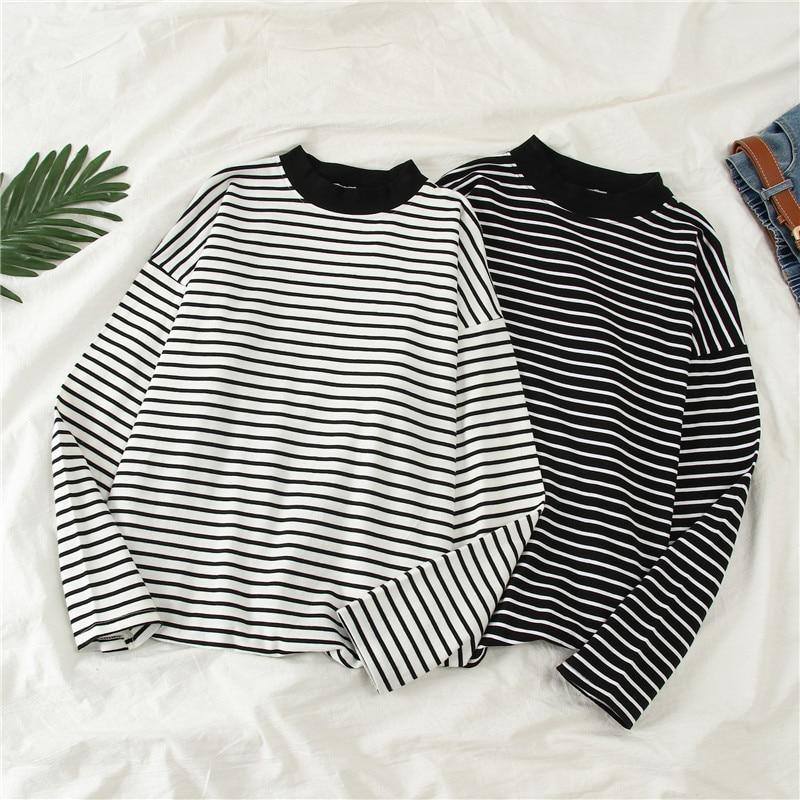 Harajuku Retro T Shirt Femme 2019 Autumn Korean Style Ulzzang Long Sleeve O-neck Striped T-shirt For Women Casual Loose Tee Tops