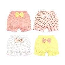 Хлопковое нижнее белье для малышей Детские Мягкие Трусы-шорты трусы для девочек милые трусы в полоску с бантом для малышей дышащие шорты для малышей