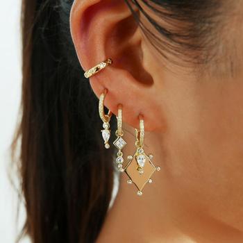 sparking bling fashion cubic zirconia cz geometric dangle drop earring Gold silver color trendy women jewelry