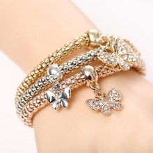 цены 2020 Heart Bracelet Bracelet Set Owl Crystal Gold Elephant Pendant Female Rhinestone Bracelet Wedding gift 3Pcs