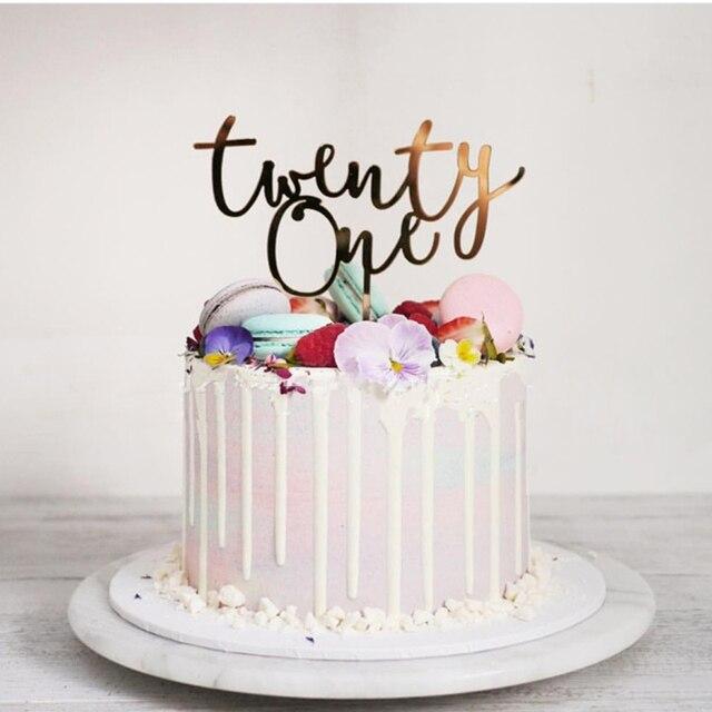 Twenty One Happyวันเกิดเค้กอะคริลิคTopperตัวอักษรจำนวน 21 อะคริลิคCupcake Topperสำหรับ 21st Birthday PARTYตกแต่งเค้ก