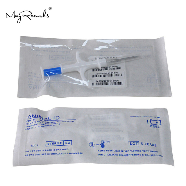 One Piece Pet Microchips 1.4*8mm ISO11784/785 FDX B Cat Dog Snake Syringe