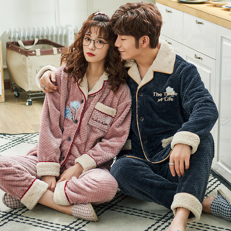 Long Sleeved Flannel In Autumn And Winter Can Be Worn Outside The New Suit Cardigan Lover Pajamas Men And Women's Home Wear
