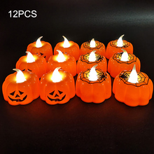 12 Pcs Halloween Outdoor Scary Pumpkin LED Spider Light Flameless Candle