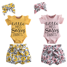 Newborn Baby Girls Set For Baby Kids Summer Outfit Short Sleeves Floral Romper+Shorts