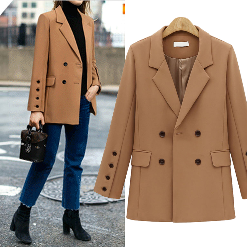 2019 Autumn Winter Casual Long Blazer Women Formal Jackets Office Work Double Breasted Ladies Blazer Coat Blazer Feminino