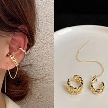 2021 Trendy Tassel kolczyk klip dla kobiet złota długa linia kolczyki cyrkonia krzyż Ear Cuff klip modna biżuteria na prezent