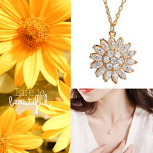 Newly Rotatable Sunflower Necklace 925 Sterling Silver Zircon Crystal Women Necklace Luxury Clavicle Chain DOD886(China)