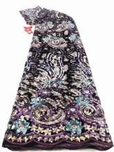 Африканская бархатная кружевная ткань для платьев новейшее нигерийское